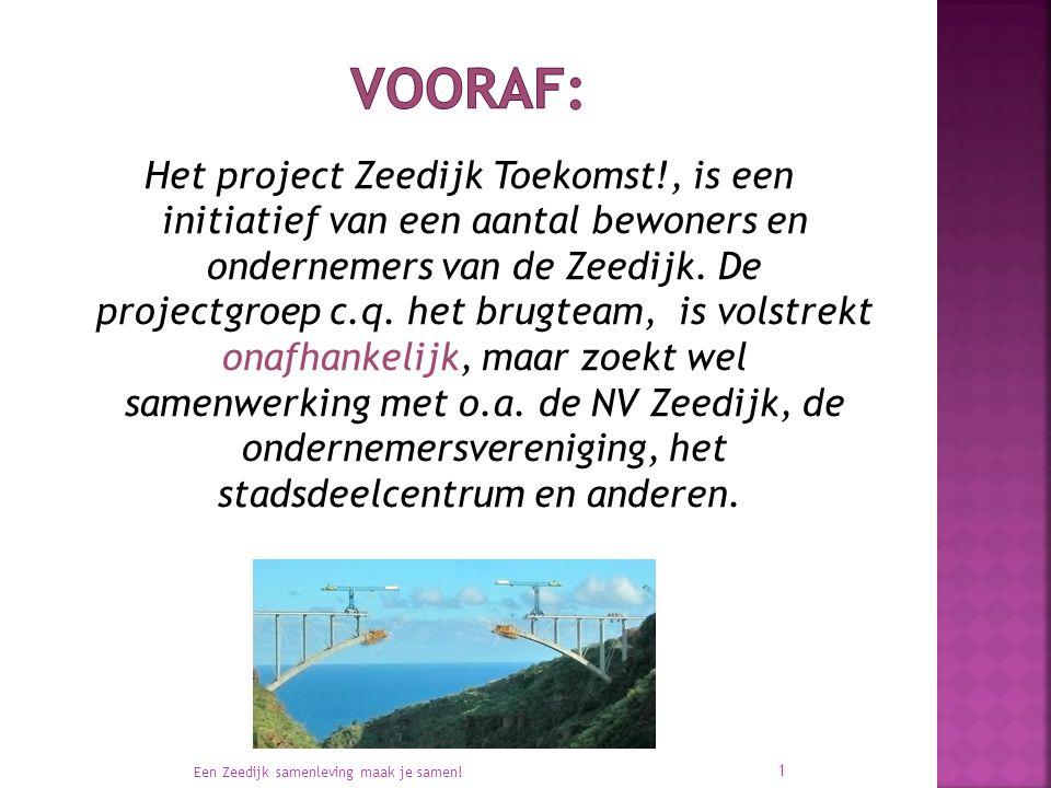 Het project Zeedijk Toekomst!, is een initiatief van een aantal bewoners en ondernemers van de Zeedijk. De projectgroep c.q. het brugteam, is volstrek