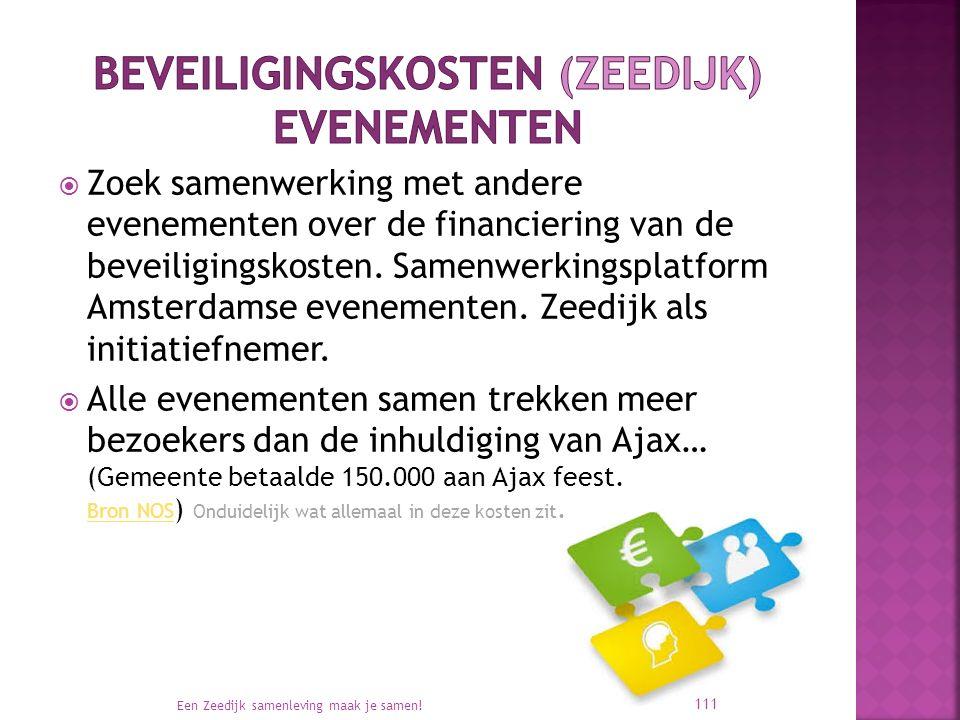  Zoek samenwerking met andere evenementen over de financiering van de beveiligingskosten. Samenwerkingsplatform Amsterdamse evenementen. Zeedijk als