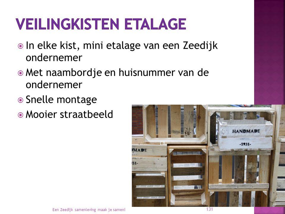  In elke kist, mini etalage van een Zeedijk ondernemer  Met naambordje en huisnummer van de ondernemer  Snelle montage  Mooier straatbeeld Een Zeedijk samenleving maak je samen.