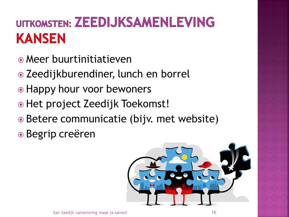  Meer buurtinitiatieven  Zeedijkburendiner, lunch en borrel  Happy hour voor bewoners  Het project Zeedijk Toekomst!  Betere communicatie (bijv.
