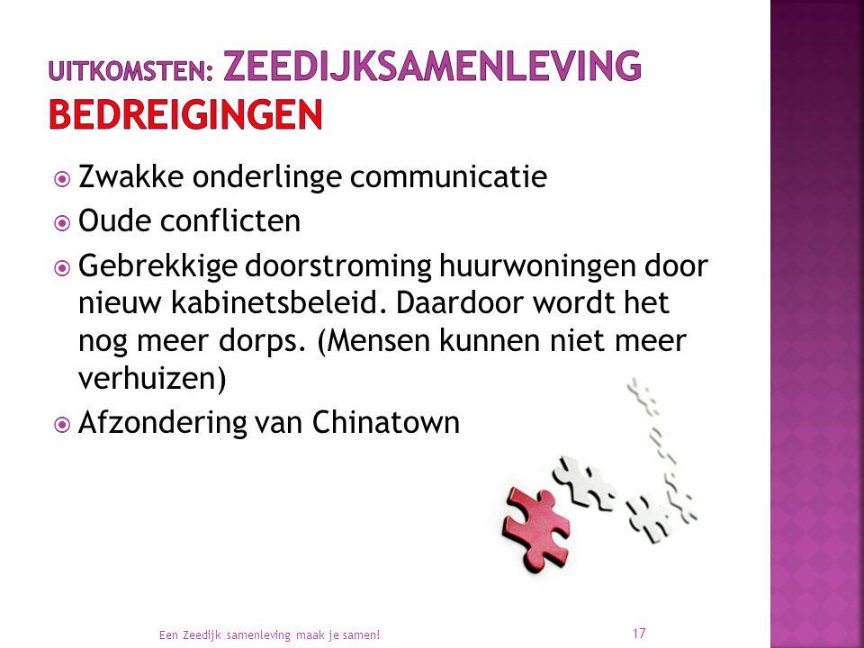  Zwakke onderlinge communicatie  Oude conflicten  Gebrekkige doorstroming huurwoningen door nieuw kabinetsbeleid. Daardoor wordt het nog meer dorps