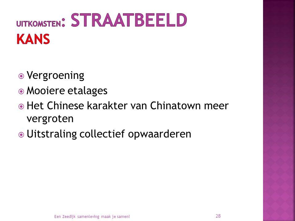  Vergroening  Mooiere etalages  Het Chinese karakter van Chinatown meer vergroten  Uitstraling collectief opwaarderen Een Zeedijk samenleving maak