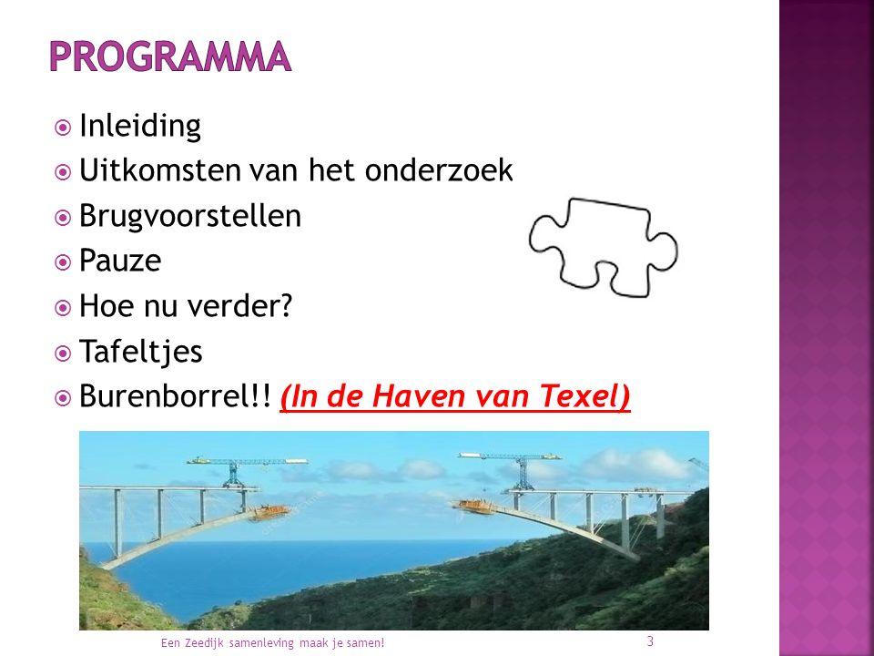  Inleiding  Uitkomsten van het onderzoek  Brugvoorstellen  Pauze  Hoe nu verder?  Tafeltjes  Burenborrel!! (In de Haven van Texel) Een Zeedijk
