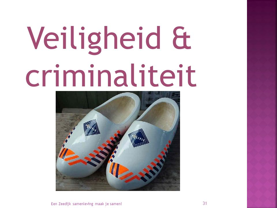 Veiligheid & criminaliteit Een Zeedijk samenleving maak je samen! 31