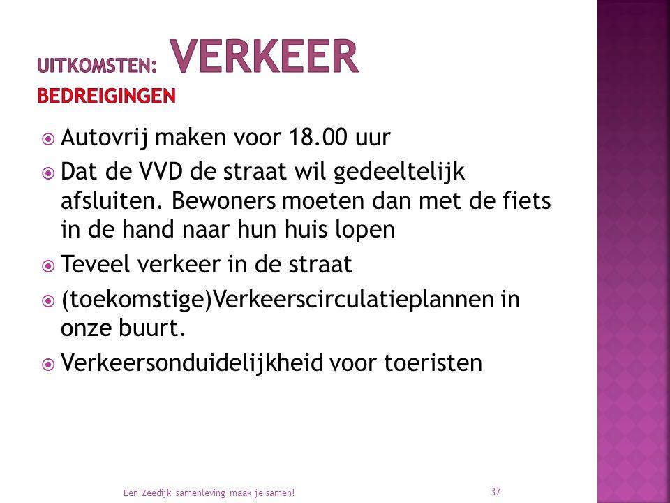  Autovrij maken voor 18.00 uur  Dat de VVD de straat wil gedeeltelijk afsluiten.