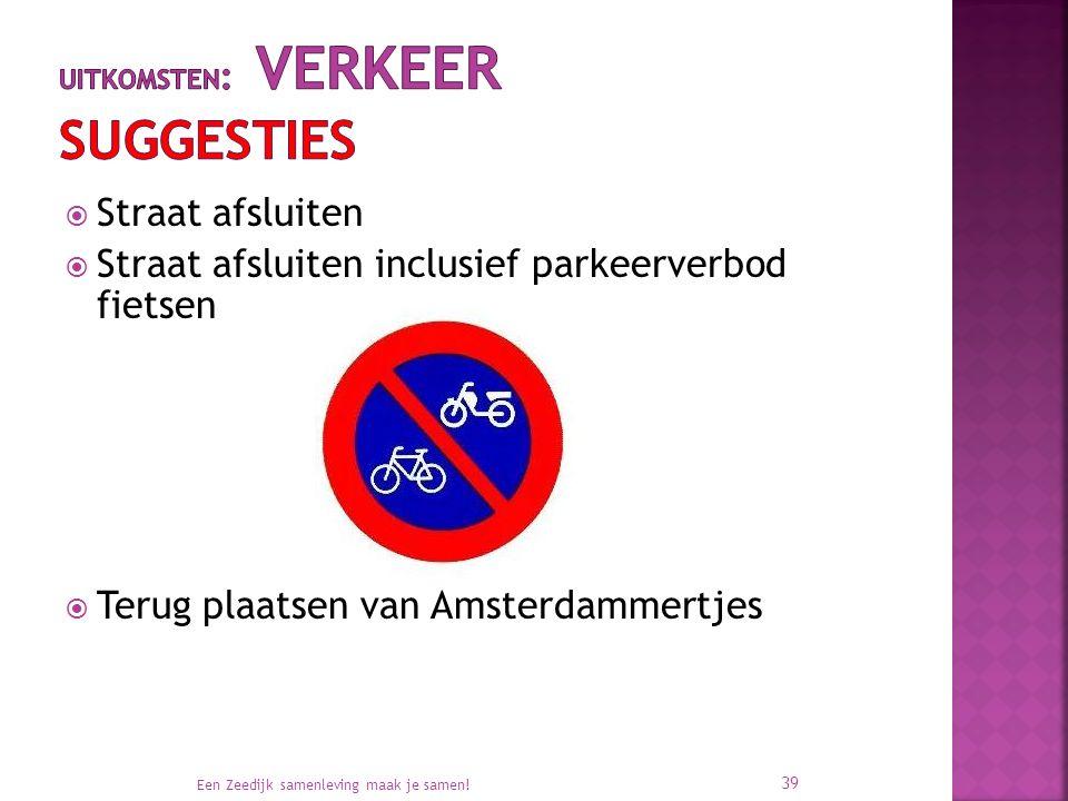  Straat afsluiten  Straat afsluiten inclusief parkeerverbod fietsen  Terug plaatsen van Amsterdammertjes Een Zeedijk samenleving maak je samen.