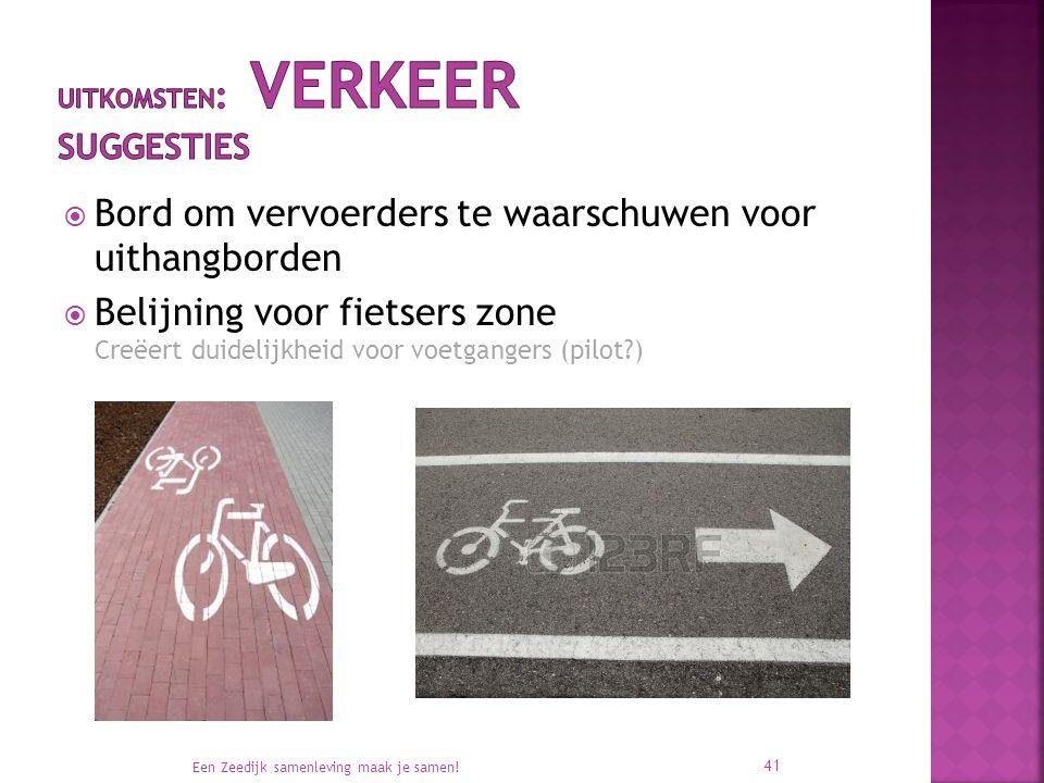  Bord om vervoerders te waarschuwen voor uithangborden  Belijning voor fietsers zone Creëert duidelijkheid voor voetgangers (pilot ) Een Zeedijk samenleving maak je samen.