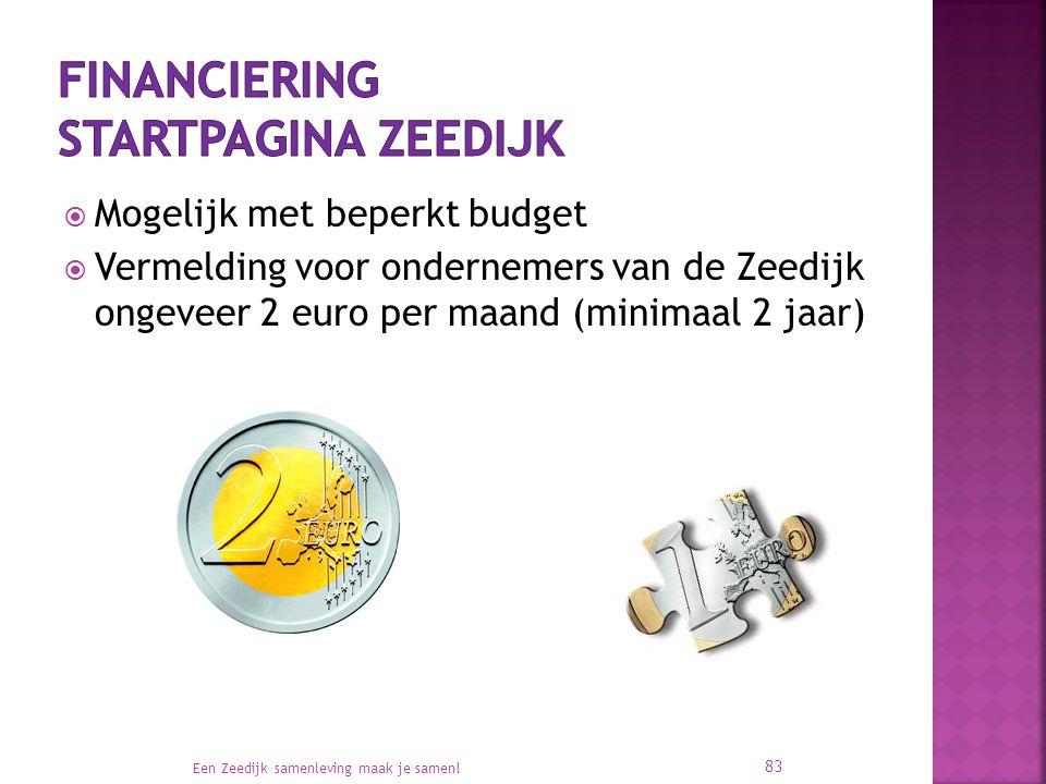  Mogelijk met beperkt budget  Vermelding voor ondernemers van de Zeedijk ongeveer 2 euro per maand (minimaal 2 jaar) Een Zeedijk samenleving maak je samen.
