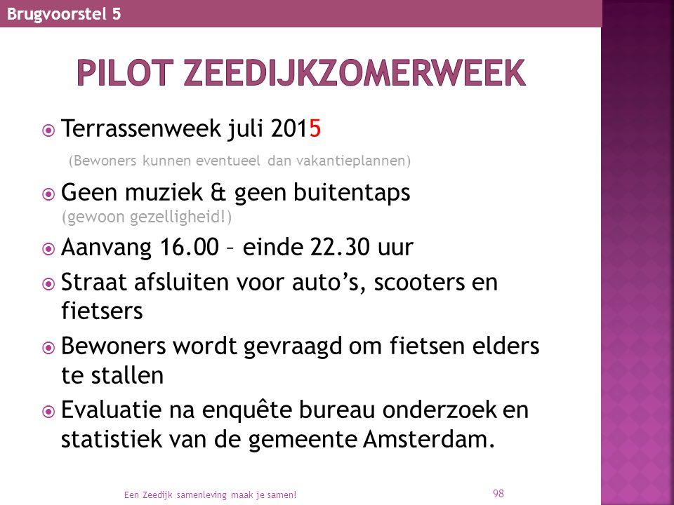  Terrassenweek juli 2015 (Bewoners kunnen eventueel dan vakantieplannen)  Geen muziek & geen buitentaps (gewoon gezelligheid!)  Aanvang 16.00 – ein