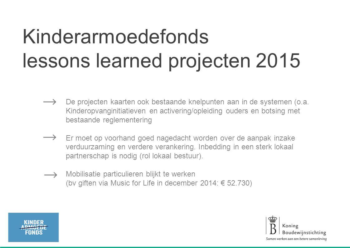 De projecten kaarten ook bestaande knelpunten aan in de systemen (o.a. Kinderopvanginitiatieven en activering/opleiding ouders en botsing met bestaand