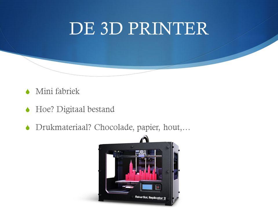 DE 3D PRINTER  Mini fabriek  Hoe? Digitaal bestand  Drukmateriaal? Chocolade, papier, hout,…