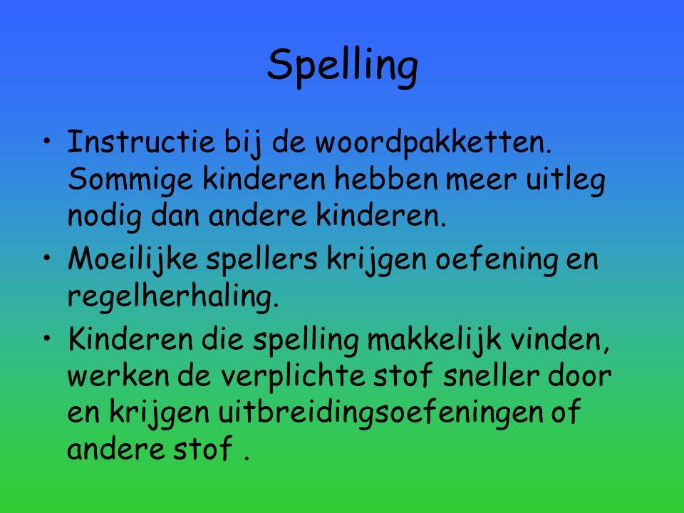 Spelling Instructie bij de woordpakketten. Sommige kinderen hebben meer uitleg nodig dan andere kinderen. Moeilijke spellers krijgen oefening en regel