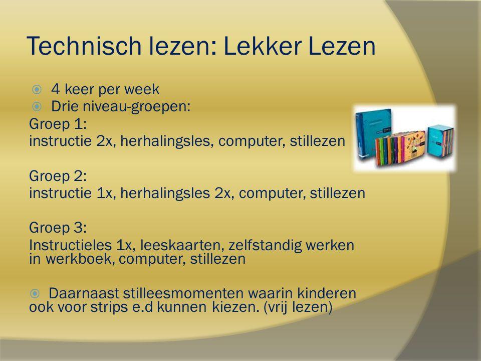 Technisch lezen: Lekker Lezen  4 keer per week  Drie niveau-groepen: Groep 1: instructie 2x, herhalingsles, computer, stillezen Groep 2: instructie