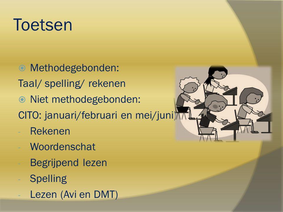 Toetsen  Methodegebonden: Taal/ spelling/ rekenen  Niet methodegebonden: CITO: januari/februari en mei/juni) - Rekenen - Woordenschat - Begrijpend l