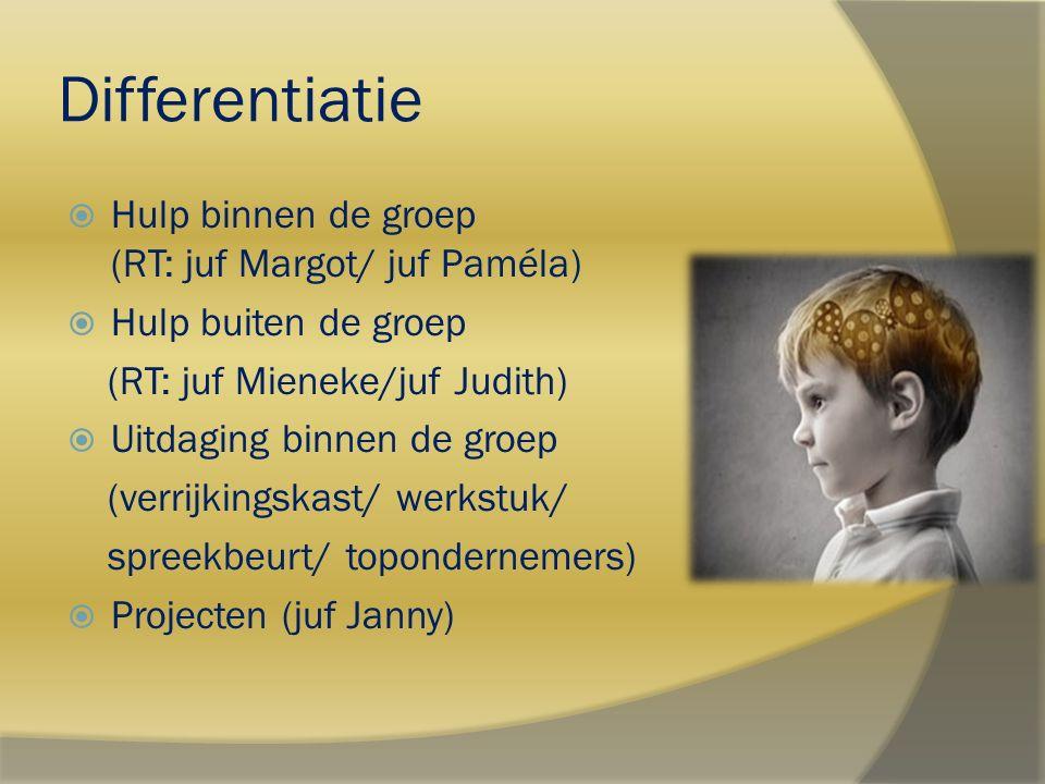 Differentiatie  Hulp binnen de groep (RT: juf Margot/ juf Paméla)  Hulp buiten de groep (RT: juf Mieneke/juf Judith)  Uitdaging binnen de groep (ve