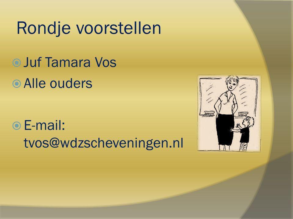 Rondje voorstellen  Juf Tamara Vos  Alle ouders  E-mail: tvos@wdzscheveningen.nl