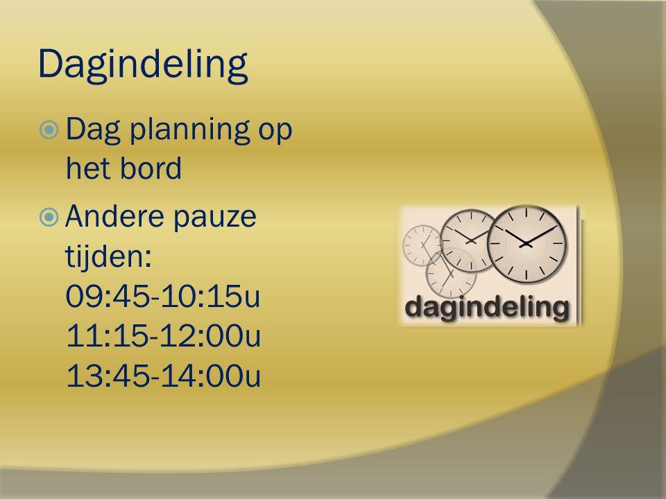 Dagindeling  Dag planning op het bord  Andere pauze tijden: 09:45-10:15u 11:15-12:00u 13:45-14:00u
