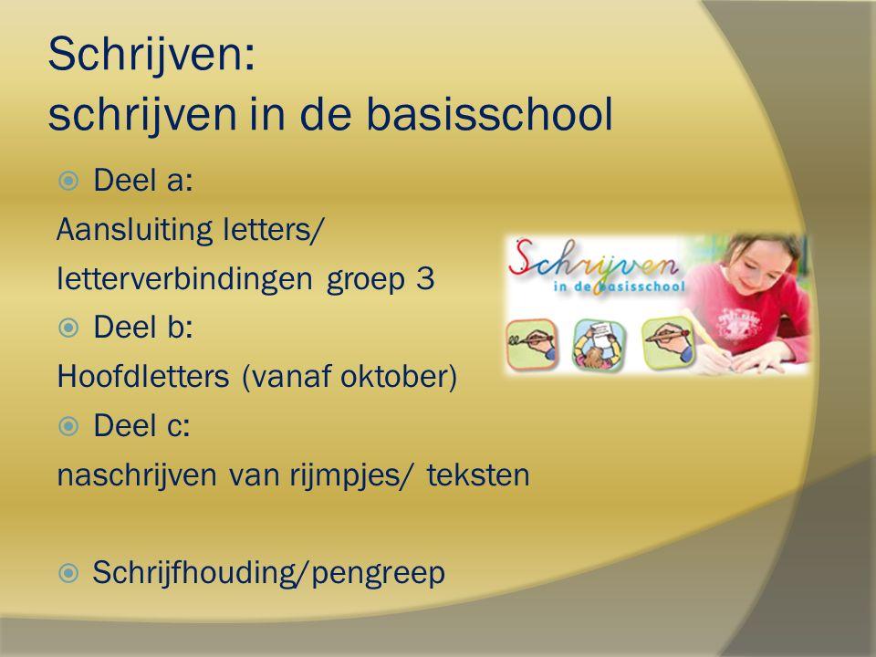 Schrijven: schrijven in de basisschool  Deel a: Aansluiting letters/ letterverbindingen groep 3  Deel b: Hoofdletters (vanaf oktober)  Deel c: nasc