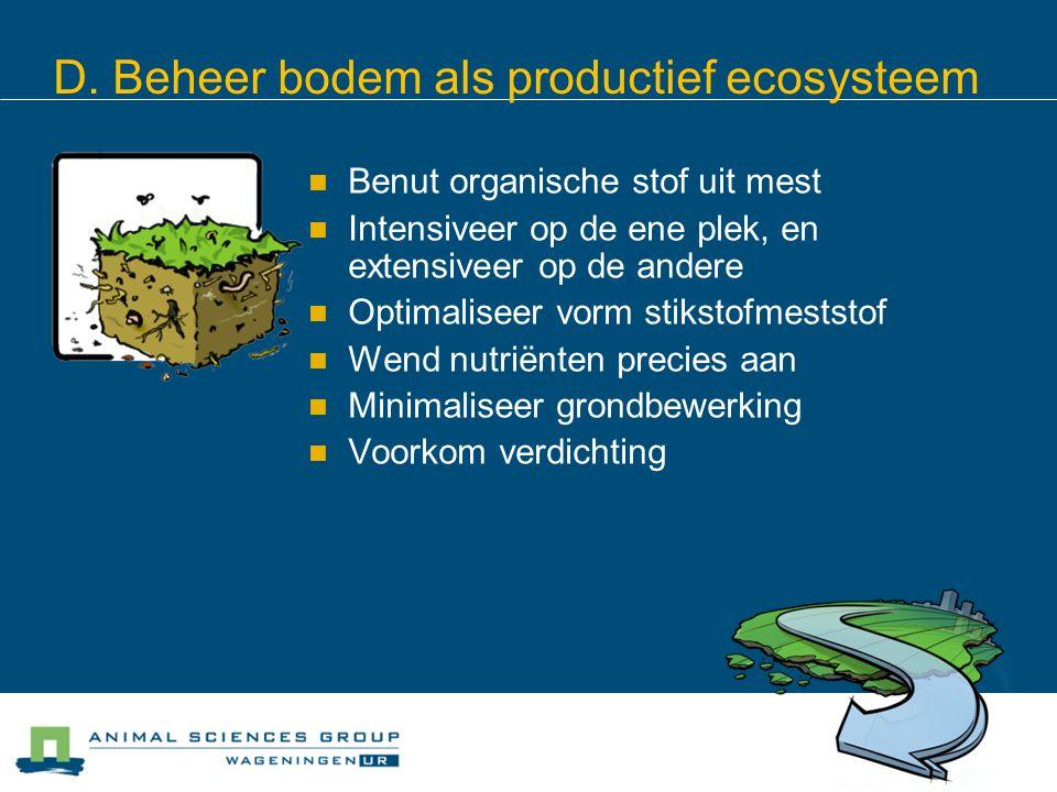 D. Beheer bodem als productief ecosysteem Benut organische stof uit mest Intensiveer op de ene plek, en extensiveer op de andere Optimaliseer vorm sti