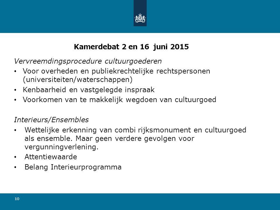 Kamerdebat 2 en 16 juni 2015 Vervreemdingsprocedure cultuurgoederen Voor overheden en publiekrechtelijke rechtspersonen (universiteiten/waterschappen)