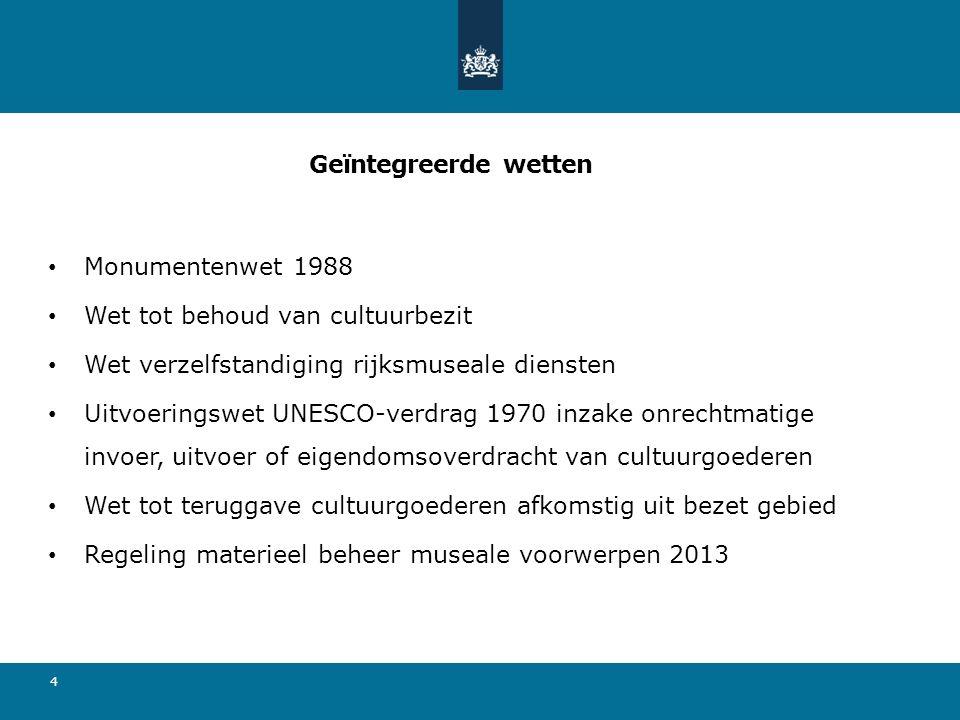 Geïntegreerde wetten Monumentenwet 1988 Wet tot behoud van cultuurbezit Wet verzelfstandiging rijksmuseale diensten Uitvoeringswet UNESCO-verdrag 1970