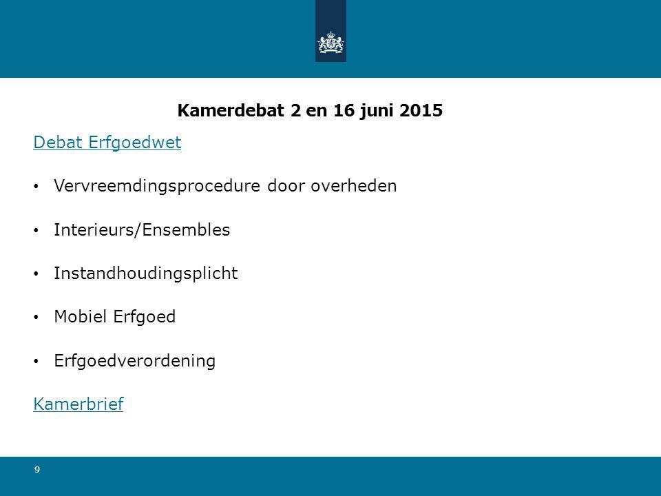Kamerdebat 2 en 16 juni 2015 Debat Erfgoedwet Vervreemdingsprocedure door overheden Interieurs/Ensembles Instandhoudingsplicht Mobiel Erfgoed Erfgoedv