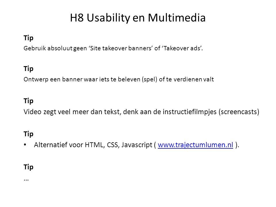 H8 Usability en Multimedia Huiswerk: Vragen:1 t/m 12 Geen Oefeningen