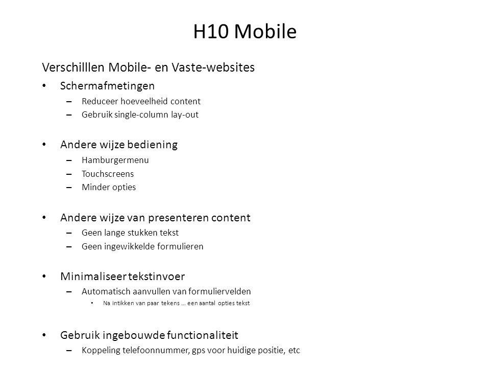 H10 Mobile Responsive design of aparte mobile site.