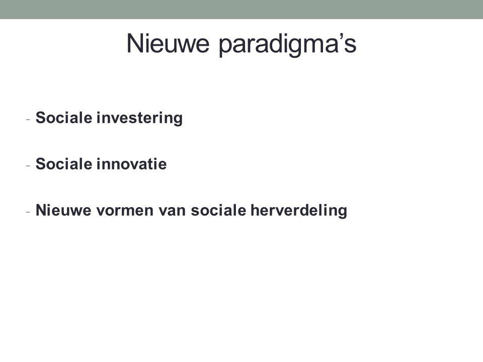 Nieuwe paradigma's - Sociale investering - Sociale innovatie - Nieuwe vormen van sociale herverdeling
