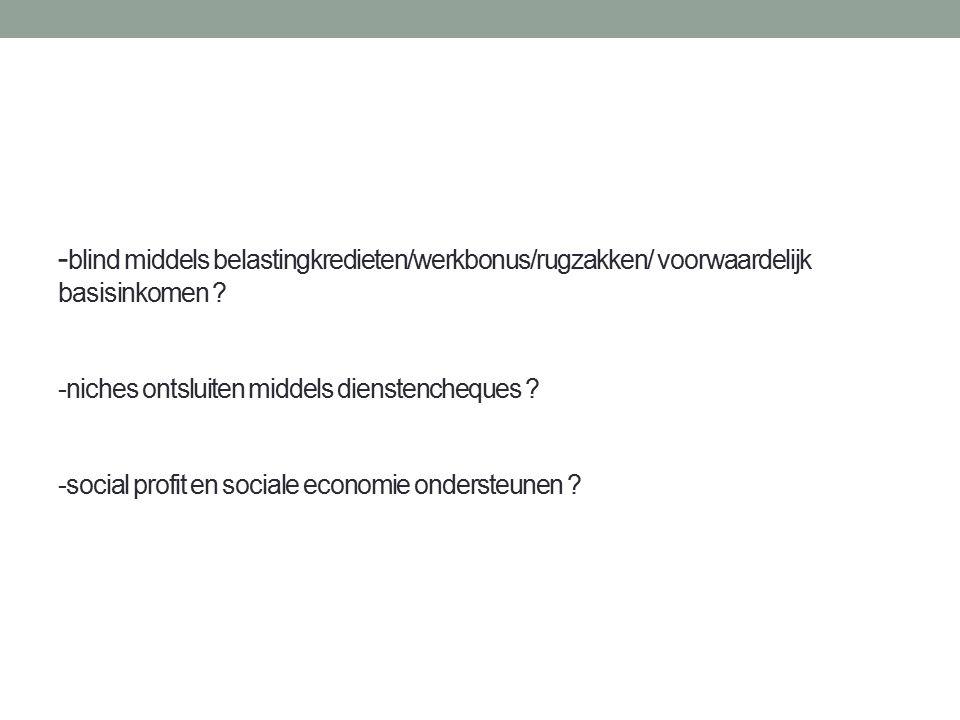 - blind middels belastingkredieten/werkbonus/rugzakken/ voorwaardelijk basisinkomen .