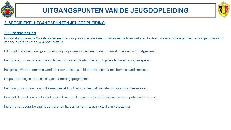 UITGANGSPUNTEN VAN DE JEUGDOPLEIDING 2. SPECIFIEKE UITGANGSPUNTEN JEUGDOPLEIDING 2.2. Periodisering Om de stap tussen de Waasland-Beveren Jeugdopleidi