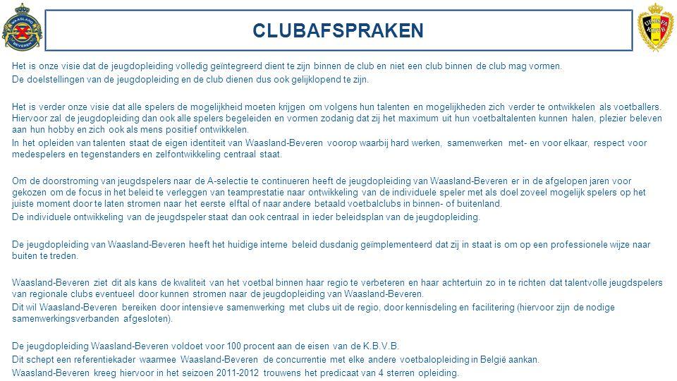 CLUBAFSPRAKEN Het is onze visie dat de jeugdopleiding volledig geïntegreerd dient te zijn binnen de club en niet een club binnen de club mag vormen. D