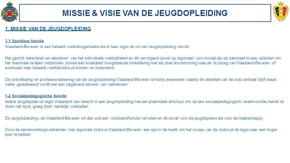MISSIE & VISIE VAN DE JEUGDOPLEIDING 1. MISSIE VAN DE JEUGDOPLEIDING 1.1 Sportieve functie Waasland-Beveren is een betaald voetbalorganisatie die in h