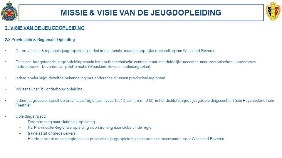 MISSIE & VISIE VAN DE JEUGDOPLEIDING 2. VISIE VAN DE JEUGDOPLEIDING 2.2 Provinciale & Regionale Opleiding De provinciale & regionale jeugdopleiding ka