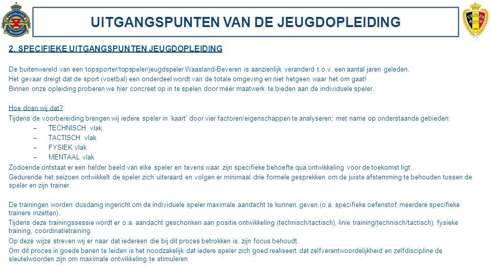 DOELSTELLINGEN VAN DE JEUGDOPLEIDING 1.