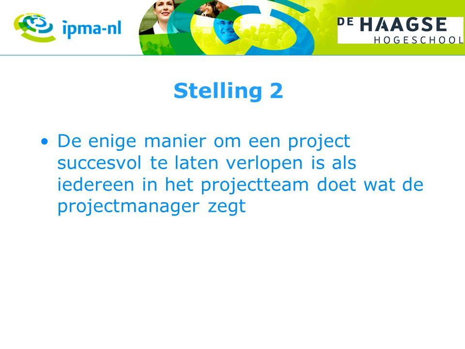 Stelling 2 De enige manier om een project succesvol te laten verlopen is als iedereen in het projectteam doet wat de projectmanager zegt
