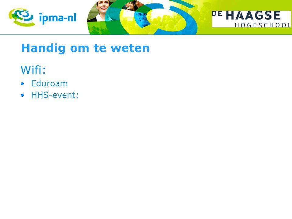 Handig om te weten Wifi: Eduroam HHS-event: