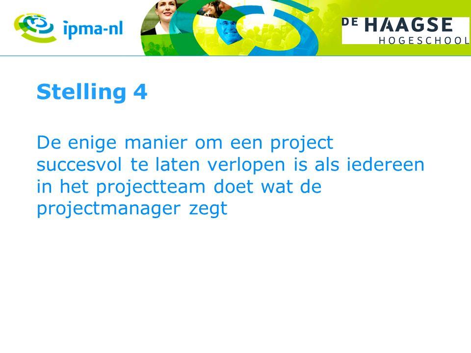 Stelling 4 De enige manier om een project succesvol te laten verlopen is als iedereen in het projectteam doet wat de projectmanager zegt