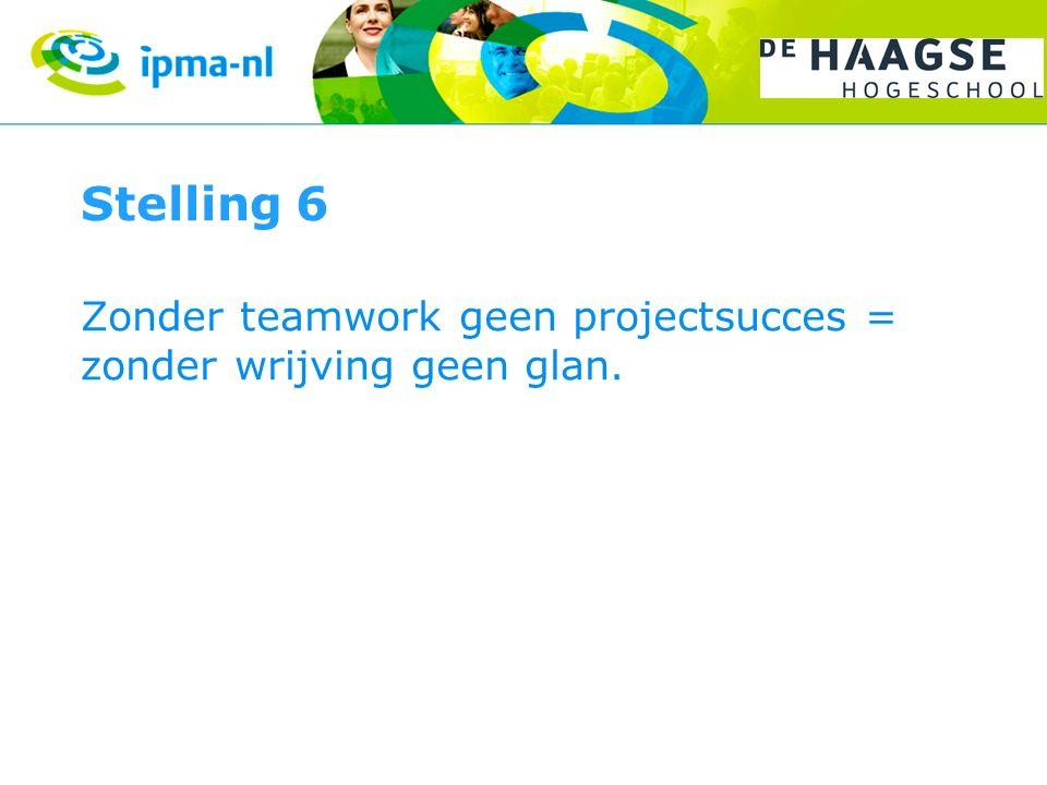 Stelling 6 Zonder teamwork geen projectsucces = zonder wrijving geen glan.