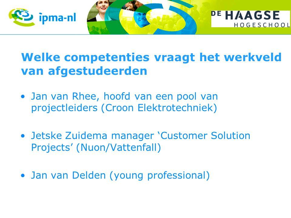 Welke competenties vraagt het werkveld van afgestudeerden Jan van Rhee, hoofd van een pool van projectleiders (Croon Elektrotechniek) Jetske Zuidema manager 'Customer Solution Projects' (Nuon/Vattenfall) Jan van Delden (young professional)