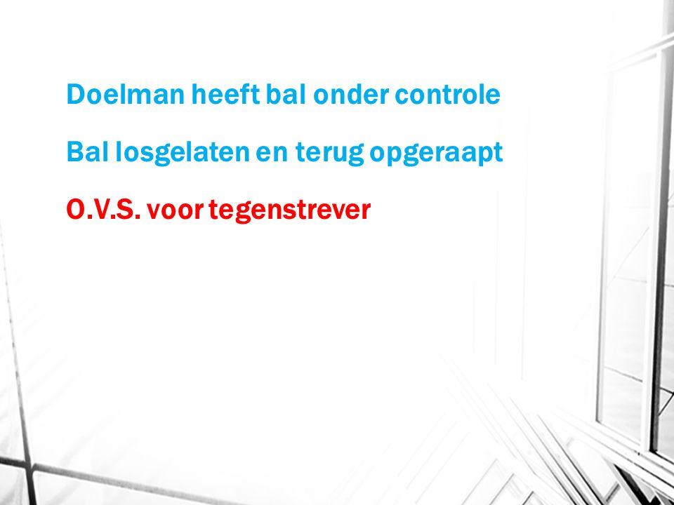 Doelman heeft bal onder controle Bal losgelaten en terug opgeraapt O.V.S. voor tegenstrever