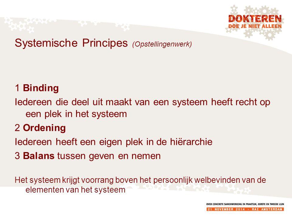 Systemische Principes (Opstellingenwerk) 1 Binding Iedereen die deel uit maakt van een systeem heeft recht op een plek in het systeem 2 Ordening Iedereen heeft een eigen plek in de hiërarchie 3 Balans tussen geven en nemen Het systeem krijgt voorrang boven het persoonlijk welbevinden van de elementen van het systeem