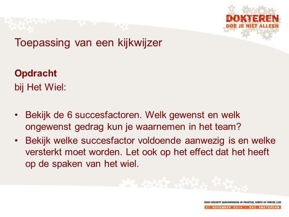 Toepassing van een kijkwijzer Opdracht bij Het Wiel: Bekijk de 6 succesfactoren.
