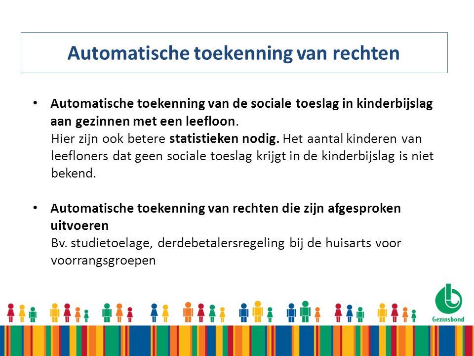 Automatische toekenning van rechten Automatische toekenning van de sociale toeslag in kinderbijslag aan gezinnen met een leefloon.
