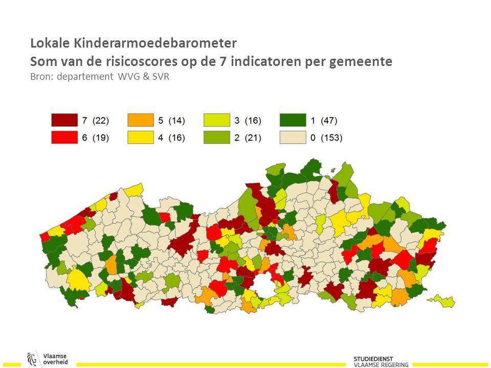 Lokale Kinderarmoedebarometer Som van de risicoscores op de 7 indicatoren per gemeente Bron: departement WVG & SVR