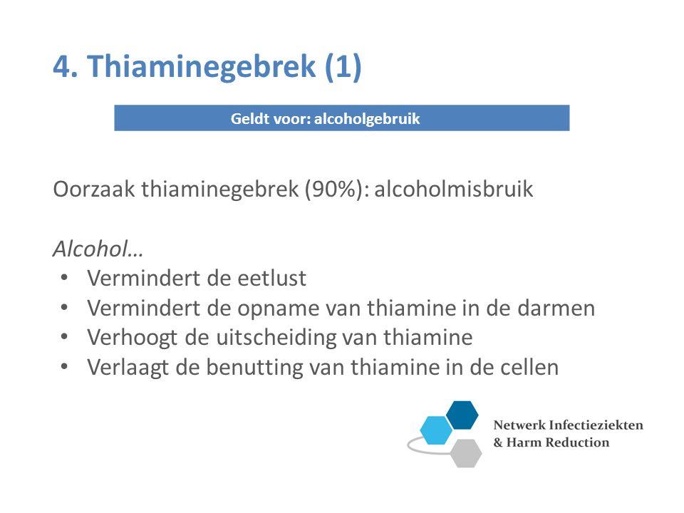 4. Thiaminegebrek (1) Geldt voor: alcoholgebruik Oorzaak thiaminegebrek (90%): alcoholmisbruik Alcohol… Vermindert de eetlust Vermindert de opname van