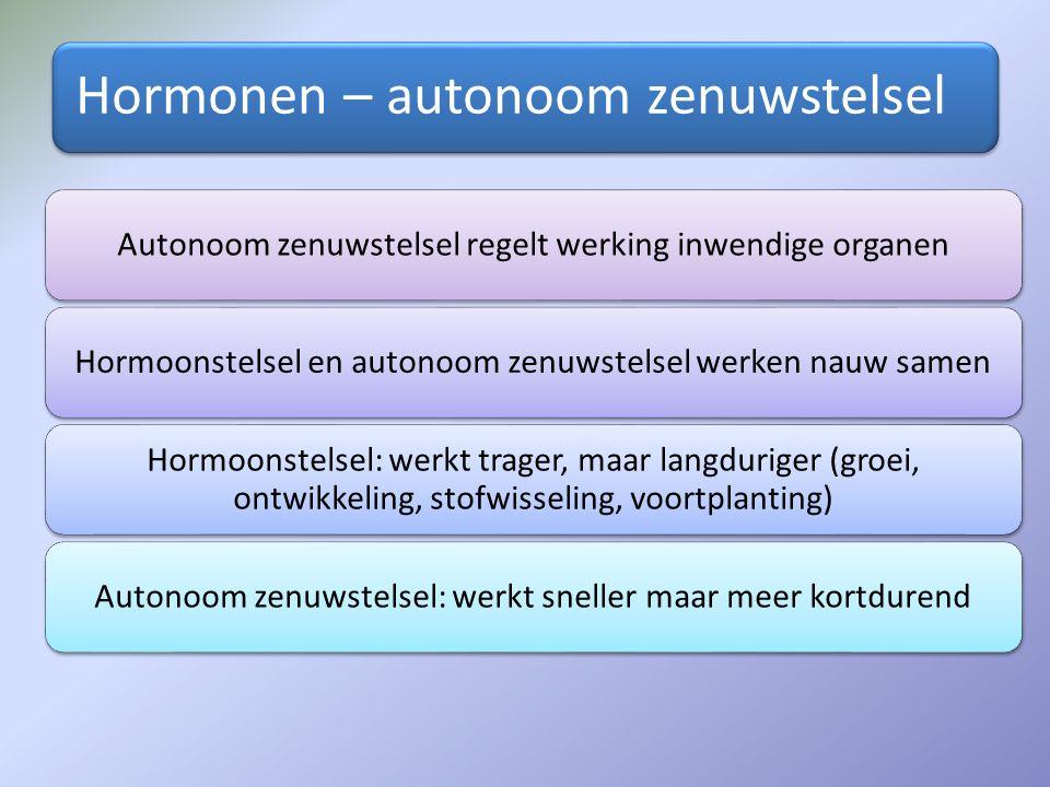 Hormonen – autonoom zenuwstelsel Autonoom zenuwstelsel regelt werking inwendige organenHormoonstelsel en autonoom zenuwstelsel werken nauw samen Hormo