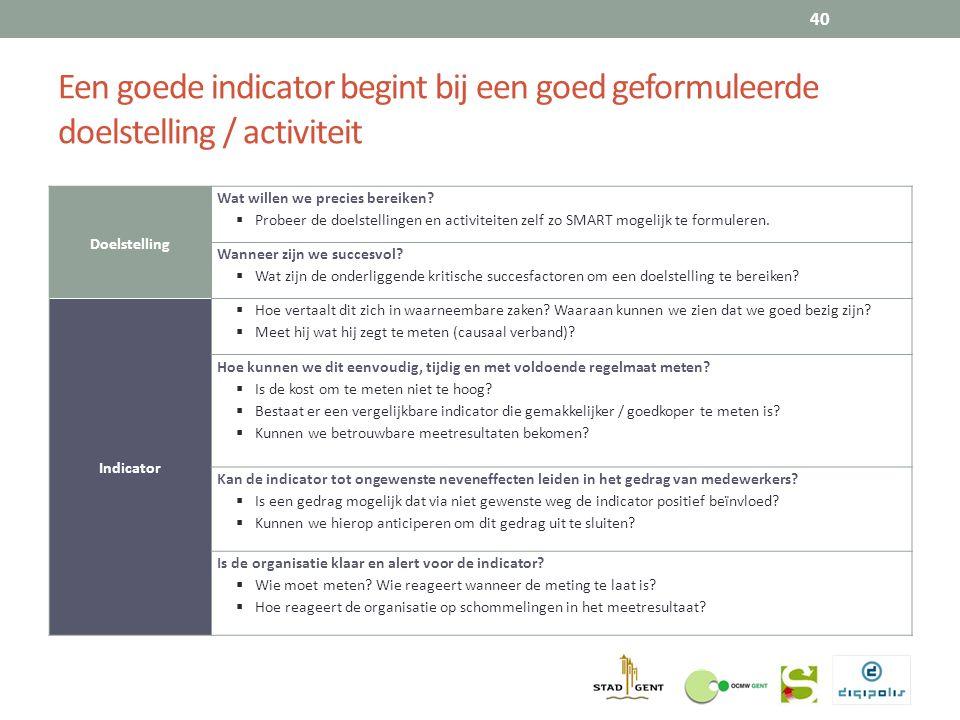 Een goede indicator begint bij een goed geformuleerde doelstelling / activiteit 40 Doelstelling Wat willen we precies bereiken.