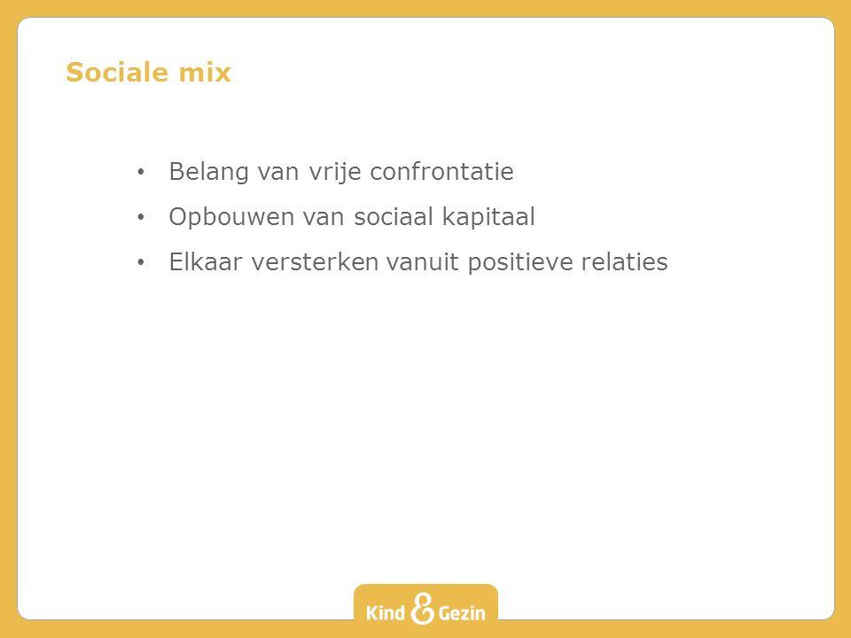 Belang van vrije confrontatie Opbouwen van sociaal kapitaal Elkaar versterken vanuit positieve relaties Sociale mix