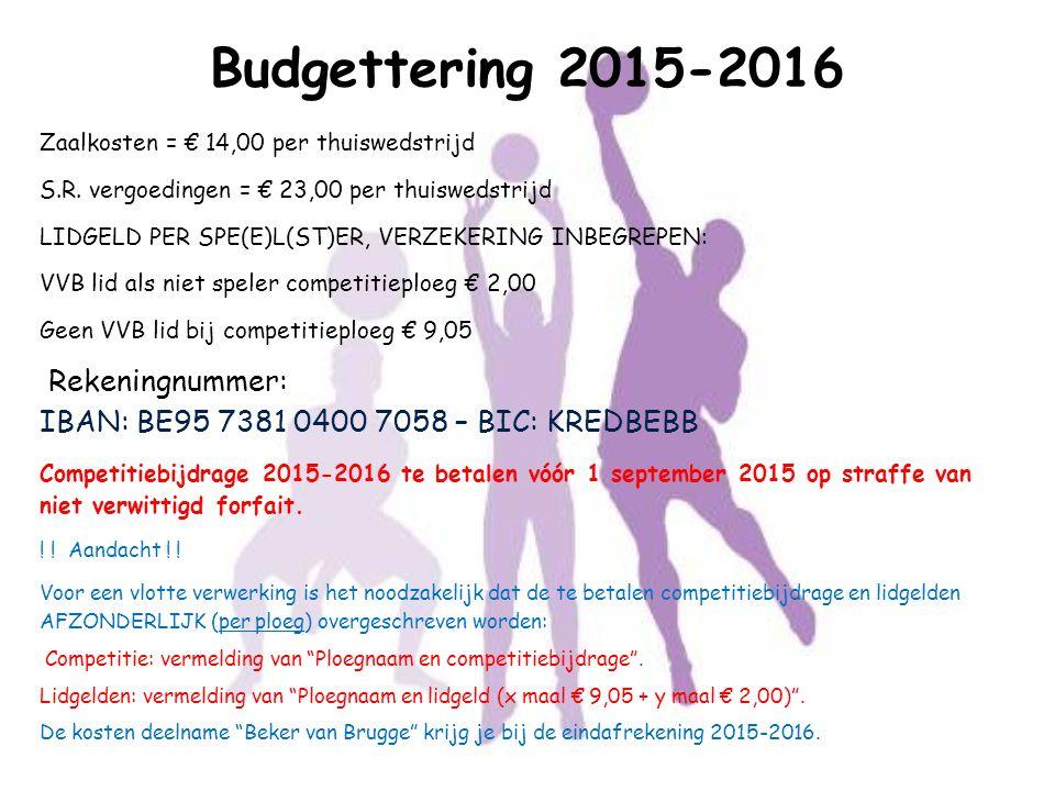 Zaalkosten = € 14,00 per thuiswedstrijd S.R. vergoedingen = € 23,00 per thuiswedstrijd LIDGELD PER SPE(E)L(ST)ER, VERZEKERING INBEGREPEN: VVB lid als